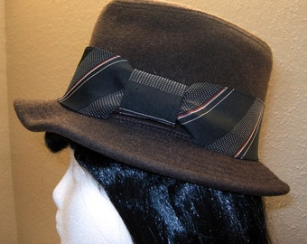 Charcoal - Fedora with Necktie Hat Band