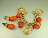 CHUNKY Vintage Orange Bakelite Nuggets Charm Bracelet Earrings Set