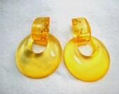 Orange Lucite Hoop Post Earrings - Chunky