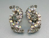 RESERVED for MARSHA BYRON- Vintage Smoky Gray Aurora Borealis Rhinestone Earrings