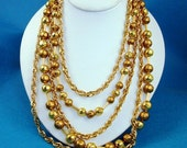 Vintage Trifari Gold Bead and Chain Multi-Strand Necklace