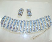 Light Blue Rhinestone Bracelet/Earrings Set