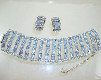 Baby Blue Rhinestone Bracelet/Earrings Set