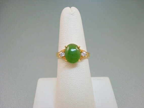 Vintage Ring Jade Green Crystal Rhinestone
