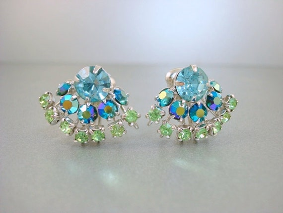 RESERVED for MARSHA BYRON - Vintage Blue/Green Rhinestone Earrings