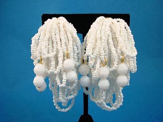 Vintage White Glass Bead Loops Earrings