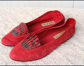 Size 7.5 Red Suede Unisa Flats Skimmers