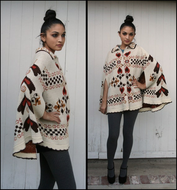 RESERVED for vacationfund .............Vtg 70's Nordic Heart Knit Sweater Cape