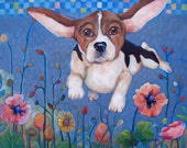 """Print from Original Painting DOG """"Flying Below Radar"""" by Catherine Darling Hostetter"""