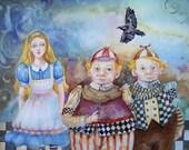 Alice In Wonderland, TweedleDee Tweedledum Print of Original Painting by Cathy Darling