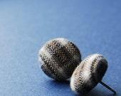 Brown Plaid Button Earrings -- babblingbrookes