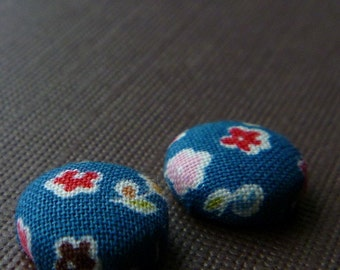 Cutetastic Flower  Button Earrings -- Blue with Red, Yellow, Pink Flowers -- babblingbrookes