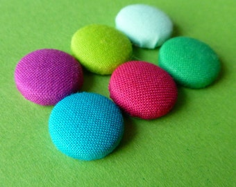 Bright Colors Fabric Covered Button Magnets -- babblingbrookes