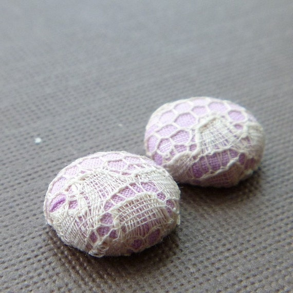 Holiday Sale 20% off -- Pretty Girl -- Vintage Lace with Light Purple Fabric Covered Button Earrings -- babblingbrookes