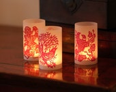 DIY Ruby Red Double Paper Cut Luminary - set of 6