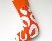 Modern Christmas Stocking - Bright Orange with Orange Cuff, ready to ship  by speedpost, delivery in 4-5 days
