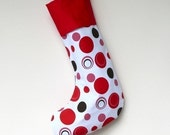 Modern Christmas Stocking - Red Baubles with Red Cuff