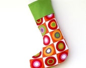 Modern Christmas Stocking - Christmas Balls with Green Cuff - ready to ship  by speedpost, delivery in 4-5 days