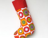 Modern Christmas Stocking - Christmas Balls with Red Cuff - ready to ship  by speedpost, delivery in 4-5 days