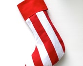 Modern Christmas Stocking - Vertical Seuss Red & White Stripe - ready to ship  by speedpost, delivery in 4-5 days