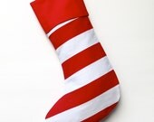 Modern Holiday Stocking - Horizontal Red & White Stripe - ready to ship  by speedpost, delivery in 4-5 days