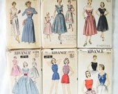 Pattern Sale Half Off - 1950's Advance Dress Pattern lot of 6
