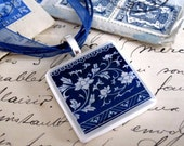 Delft polymer clay necklace