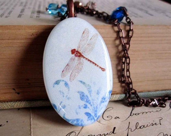 Dragonfly Pendant Polymer Clay Beaded Chain Necklace