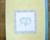 5291: Sweet hand embossed, Blue Kitten card (only one left)