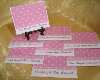 CLEARANCE CARDS // Set of 8 Pink Birth Announcement Cards. Our Angel Has Arrived #1275