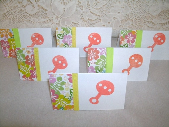 Baby Rattles, Set of 6 Mini Note Cards (5415x6), By Heidi McClure, procedes benefit National Ovarian Cancer Coalition