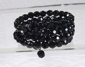 Vintage Bracelet Black Glass Memory Wire  Crystal