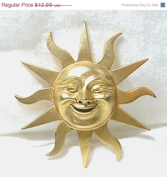 1960s Alva Museum Studio Gold Sun God Brooch Smiling