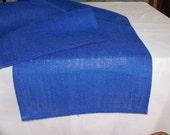 "Burlap 14X72"" royal blue color table runner"