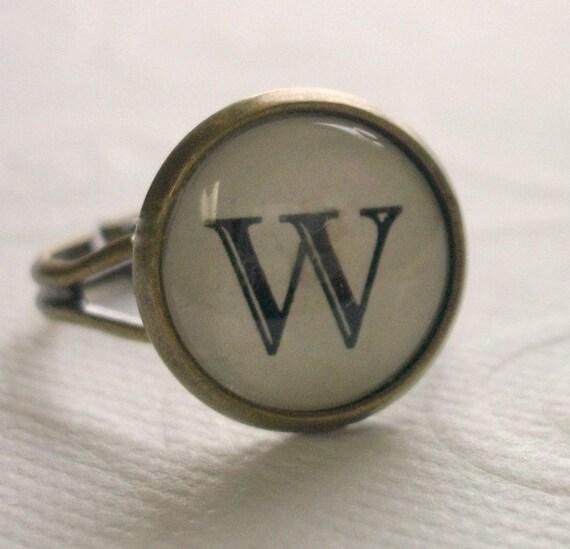 "Antiqued Brass ""W"" Ring, Adjustable"