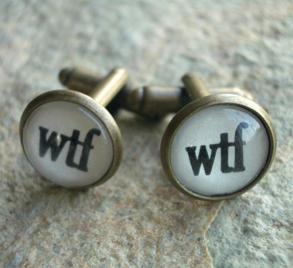 Pair of Antiqued Brass Cuff Links with WTF Graphic