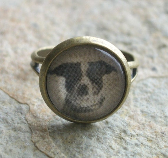 Antiqued Brass Ring with an Vintage Terrier Dog Photo - theresajtoo
