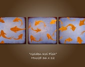 Golden Koi Fish - HUGE 36 x 12, Acrylic painting canvas, gallery wrapped and ready to hang, ORIGINAL and HUGE, One of a Kind - Please see close ups