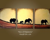 custom original PAINTING large abstract modern contemporary textured fine art by Shanna - row of elephants
