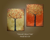 Reserved for Rina - Original Large Abstract Modern Fine Art Heavy Textured Acrylic Earthy Nature Tree Contemporary Gold Red Metallic Painting by Shanna - HUGE 32 x 20 - Textured Nature Trees
