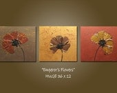 custom emperor's flowers - 36 x 12, acrylic PAINTING canvas, gallery wrapped ready to hang, textured original art