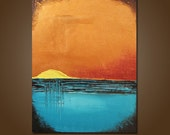 Yellow Sunrise - 18 x 24, Heavy Textured, ORIGINAL, Contemporary Earthy Nature Landscape Art Painting