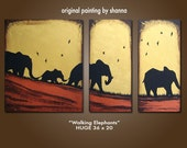 Walking Elephants - HUGE 36 x 20, Acrylic painting canvas, gallery wrapped, ORIGINAL, Modern Earthy Tree Bird Painting