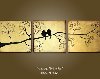 Custom Love Birds - 36 x 12, Acrylic painting canvas, gallery wrapped and ready to hang, ORIGINAL