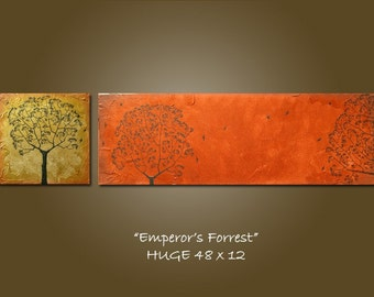 Custom Emperor's Forrest - HUGE 48 x 12, Acrylic Heavy Textured painting canvas, gallery wrapped, ORIGINAL and HUGE - Please see close ups