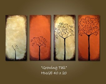 Custom Growing Tall - 40 x 20, Heavy Textured Acrylic painting, ready to hang, ORIGINAL, One of a Kind - Please see close ups