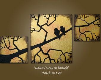 Custom Golden Birds on Branch - HUGE 40 x 20, Heavy Textured Acrylic Art PAINTING on canvas, Contemporary Earthy Love Birds Art