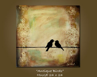 custom antique birds art painting - 24 x 24, heavy textured acrylic on canvas, ORIGINAL, Contemporary earthy birds on wire