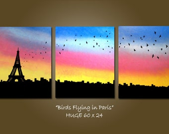 SaLe ORIGINAL Large Modern Fine Art Contemporary PAINTING by Shanna - HUGE 60 x 24 - Birds Flying in Paris