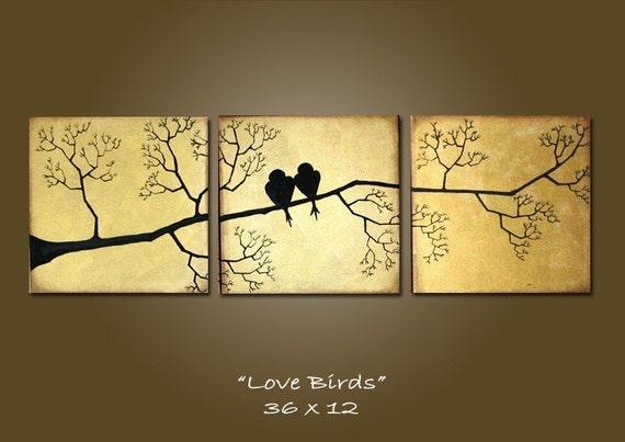 large love birds abstract painting, wall art, wall decor, original art work, canvas wall art, large wall art